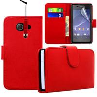 Sony Xperia M2/ M2 Dual D2303 D2305 D2306: Accessoire Etui portefeuille Livre Housse Coque Pochette cuir PU + mini Stylet - ROUGE