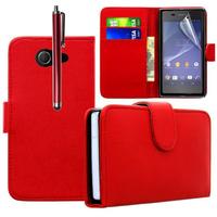 Sony Xperia M2/ M2 Dual D2303 D2305 D2306: Accessoire Etui portefeuille Livre Housse Coque Pochette cuir PU + Stylet - ROUGE