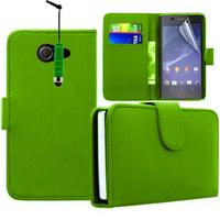 Sony Xperia M2/ M2 Dual D2303 D2305 D2306: Accessoire Etui portefeuille Livre Housse Coque Pochette cuir PU + mini Stylet - VERT