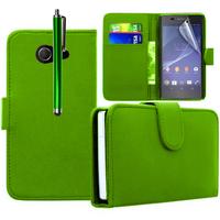 Sony Xperia M2/ M2 Dual D2303 D2305 D2306: Accessoire Etui portefeuille Livre Housse Coque Pochette cuir PU + Stylet - VERT