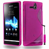Sony Xperia U St25i: Accessoire Housse Etui Pochette Coque S silicone gel + mini Stylet - ROSE