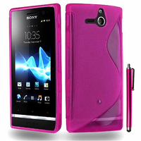 Sony Xperia U St25i: Accessoire Housse Etui Pochette Coque S silicone gel + Stylet - ROSE