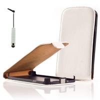 Sony Xperia U St25i: Accessoire Housse coque etui cuir fine slim + mini Stylet - BLANC