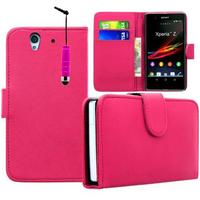 Sony Xperia Z L36h C6602 C6603: Accessoire Etui portefeuille Livre Housse Coque Pochette cuir PU + mini Stylet - ROSE