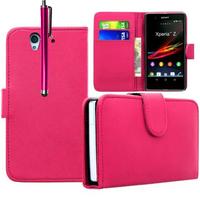 Sony Xperia Z L36h C6602 C6603: Accessoire Etui portefeuille Livre Housse Coque Pochette cuir PU + Stylet - ROSE