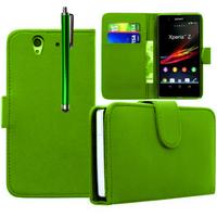 Sony Xperia Z L36h C6602 C6603: Accessoire Etui portefeuille Livre Housse Coque Pochette cuir PU + Stylet - VERT