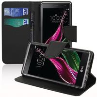 LG Zero/ LG Class: Accessoire Etui portefeuille Livre Housse Coque Pochette support vidéo cuir PU effet tissu - NOIR