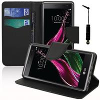 LG Zero/ LG Class: Accessoire Etui portefeuille Livre Housse Coque Pochette support vidéo cuir PU effet tissu + mini Stylet - NOIR
