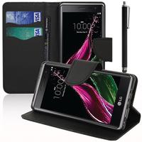 LG Zero/ LG Class: Accessoire Etui portefeuille Livre Housse Coque Pochette support vidéo cuir PU effet tissu + Stylet - NOIR