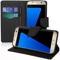 Samsung Galaxy S7 edge G935F/ G935FD/ S7 edge (CDMA) G935: Accessoire Etui portefeuille Livre Housse Coque Pochette support vidéo cuir PU effet tissu - NOIR