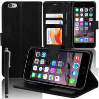 Apple iPhone 6/ 6s: Accessoire Etui portefeuille Livre Housse Coque Pochette support vidéo cuir PU + Stylet - NOIR