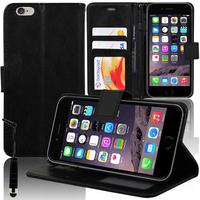 Apple iPhone 6/ 6s: Accessoire Etui portefeuille Livre Housse Coque Pochette support vidéo cuir PU + mini Stylet - NOIR