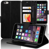 Apple iPhone 6/ 6s: Accessoire Etui portefeuille Livre Housse Coque Pochette support vidéo cuir PU - NOIR