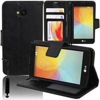 LG F60 D390N/ F60 Dual D392: Accessoire Etui portefeuille Livre Housse Coque Pochette support vidéo cuir PU + mini Stylet - NOIR