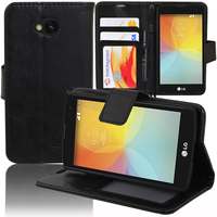 LG F60 D390N/ F60 Dual D392: Accessoire Etui portefeuille Livre Housse Coque Pochette support vidéo cuir PU - NOIR