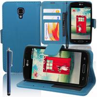LG F70 D315/ LTE: Accessoire Etui portefeuille Livre Housse Coque Pochette support vidéo cuir PU + Stylet - BLEU