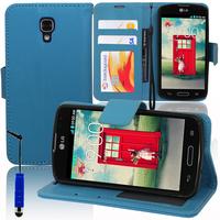 LG F70 D315/ LTE: Accessoire Etui portefeuille Livre Housse Coque Pochette support vidéo cuir PU + mini Stylet - BLEU