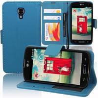 LG F70 D315/ LTE: Accessoire Etui portefeuille Livre Housse Coque Pochette support vidéo cuir PU - BLEU