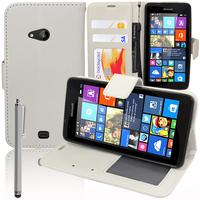 Microsoft Nokia Lumia 535/ 535 Dual SIM: Accessoire Etui portefeuille Livre Housse Coque Pochette support vidéo cuir PU + Stylet - BLANC