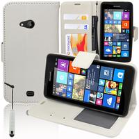 Microsoft Nokia Lumia 535/ 535 Dual SIM: Accessoire Etui portefeuille Livre Housse Coque Pochette support vidéo cuir PU + mini Stylet - BLANC