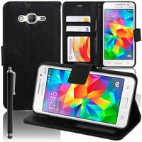 Samsung Galaxy Grand Prime SM-G530F/ (4G) SM-G531F/ Duos TV SM-G530BT/ G530FZ G530Y G530H G530FZ/DS: Accessoire Etui portefeuille Livre Housse Coque Pochette support vidéo cuir PU + Stylet - NOIR