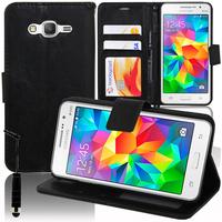 Samsung Galaxy Grand Prime SM-G530F/ (4G) SM-G531F/ Duos TV SM-G530BT/ G530FZ G530Y G530H G530FZ/DS: Accessoire Etui portefeuille Livre Housse Coque Pochette support vidéo cuir PU + mini Stylet - NOIR