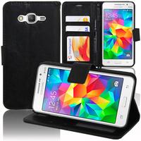 Samsung Galaxy Grand Prime SM-G530F/ (4G) SM-G531F/ Duos TV SM-G530BT/ G530FZ G530Y G530H G530FZ/DS: Accessoire Etui portefeuille Livre Housse Coque Pochette support vidéo cuir PU - NOIR