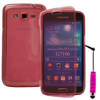 Samsung Galaxy Grand 2 SM-G7100 SM-G7102 SM-G7105 SM-G7106: Accessoire Coque Etui Housse Pochette silicone gel Portefeuille Livre rabat + mini Stylet - ROSE