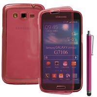 Samsung Galaxy Grand 2 SM-G7100 SM-G7102 SM-G7105 SM-G7106: Accessoire Coque Etui Housse Pochette silicone gel Portefeuille Livre rabat + Stylet - ROSE