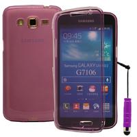 Samsung Galaxy Grand 2 SM-G7100 SM-G7102 SM-G7105 SM-G7106: Accessoire Coque Etui Housse Pochette silicone gel Portefeuille Livre rabat + mini Stylet - VIOLET