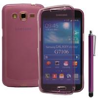 Samsung Galaxy Grand 2 SM-G7100 SM-G7102 SM-G7105 SM-G7106: Accessoire Coque Etui Housse Pochette silicone gel Portefeuille Livre rabat + Stylet - VIOLET