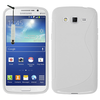 Samsung Galaxy Grand 2 SM-G7100 SM-G7102 SM-G7105 SM-G7106: Accessoire Housse Etui Pochette Coque S silicone gel + mini Stylet - BLANC
