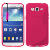 Samsung Galaxy Grand 2 SM-G7100 SM-G7102 SM-G7105 SM-G7106: Accessoire Housse Etui Pochette Coque S silicone gel + mini Stylet - ROSE