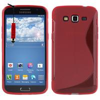 Samsung Galaxy Grand 2 SM-G7100 SM-G7102 SM-G7105 SM-G7106: Accessoire Housse Etui Pochette Coque S silicone gel + mini Stylet - ROUGE