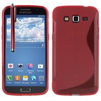 Samsung Galaxy Grand 2 SM-G7100 SM-G7102 SM-G7105 SM-G7106: Accessoire Housse Etui Pochette Coque S silicone gel + Stylet - ROUGE