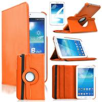 Samsung Galaxy Tab 3 8.0 SM-T311 T310 T315 Wi-Fi 3G LTE 4G: Accessoire Etui Housse Coque avec support Et Rotative Rotation 360° en cuir PU - ORANGE