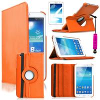 Samsung Galaxy Tab 3 8.0 SM-T311 T310 T315 Wi-Fi 3G LTE 4G: Accessoire Etui Housse Coque avec support Et Rotative Rotation 360° en cuir PU + mini Stylet - ORANGE