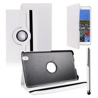 Samsung Galaxy Tab Pro 8.4 SM-T320 T321 T325 3G LTE 4G: Accessoire Etui Housse Coque avec support Et Rotative Rotation 360° en cuir PU + Stylet - BLANC