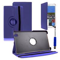 Samsung Galaxy Tab Pro 8.4 SM-T320 T321 T325 3G LTE 4G: Accessoire Etui Housse Coque avec support Et Rotative Rotation 360° en cuir PU + mini Stylet - BLEU FONCE