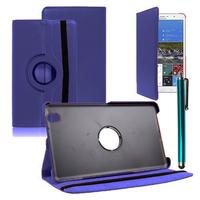 Samsung Galaxy Tab Pro 8.4 SM-T320 T321 T325 3G LTE 4G: Accessoire Etui Housse Coque avec support Et Rotative Rotation 360° en cuir PU + Stylet - BLEU FONCE