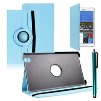 Samsung Galaxy Tab Pro 8.4 SM-T320 T321 T325 3G LTE 4G: Accessoire Etui Housse Coque avec support Et Rotative Rotation 360° en cuir PU + Stylet - BLEU