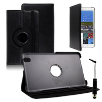 Samsung Galaxy Tab Pro 8.4 SM-T320 T321 T325 3G LTE 4G: Accessoire Etui Housse Coque avec support Et Rotative Rotation 360° en cuir PU + mini Stylet - NOIR