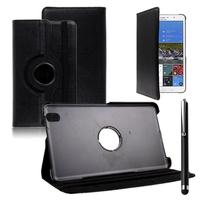 Samsung Galaxy Tab Pro 8.4 SM-T320 T321 T325 3G LTE 4G: Accessoire Etui Housse Coque avec support Et Rotative Rotation 360° en cuir PU + Stylet - NOIR