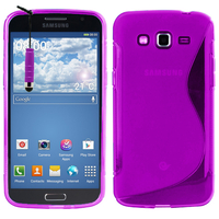 Samsung Galaxy Grand 2 SM-G7100 SM-G7102 SM-G7105 SM-G7106: Accessoire Housse Etui Pochette Coque S silicone gel + mini Stylet - VIOLET
