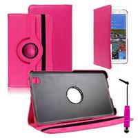 Samsung Galaxy Tab Pro 8.4 SM-T320 T321 T325 3G LTE 4G: Accessoire Etui Housse Coque avec support Et Rotative Rotation 360° en cuir PU + mini Stylet - ROSE