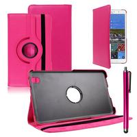Samsung Galaxy Tab Pro 8.4 SM-T320 T321 T325 3G LTE 4G: Accessoire Etui Housse Coque avec support Et Rotative Rotation 360° en cuir PU + Stylet - ROSE