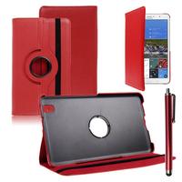 Samsung Galaxy Tab Pro 8.4 SM-T320 T321 T325 3G LTE 4G: Accessoire Etui Housse Coque avec support Et Rotative Rotation 360° en cuir PU + Stylet - ROUGE