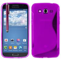 Samsung Galaxy Grand 2 SM-G7100 SM-G7102 SM-G7105 SM-G7106: Accessoire Housse Etui Pochette Coque S silicone gel + Stylet - VIOLET