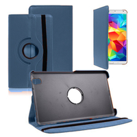 Samsung Galaxy Tab 4 8.0 Wi-Fi SM-T330/ 3G T331/ LTE 4G T335/ Wi-Fi (2015) T333: Accessoire Etui Housse Coque avec support Et Rotative Rotation 360° en cuir PU - BLEU FONCE