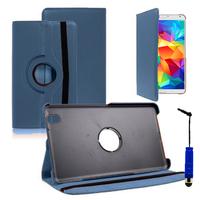 Samsung Galaxy Tab 4 8.0 Wi-Fi SM-T330/ 3G T331/ LTE 4G T335/ Wi-Fi (2015) T333: Accessoire Etui Housse Coque avec support Et Rotative Rotation 360° en cuir PU + mini Stylet - BLEU FONCE